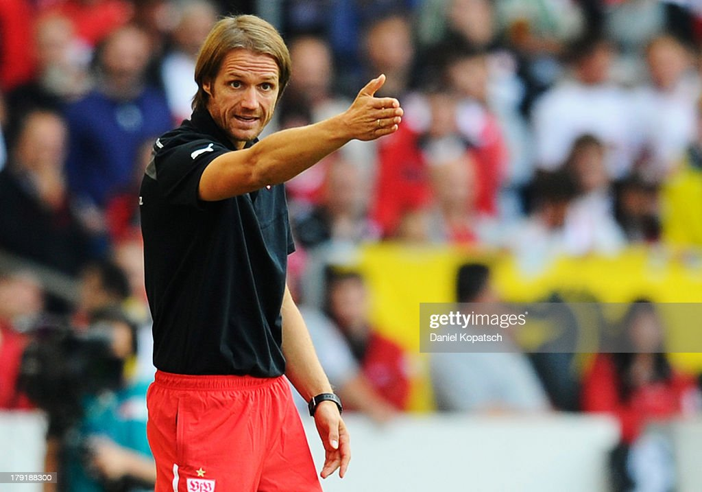Coach Thomas Schneider of Stuttgart reacts during the Bundesliga match between VfB Stuttgart and 1899 Hoffenheim at Mercedes-Benz Arena on September 1, 2013 in Stuttgart, Germany.