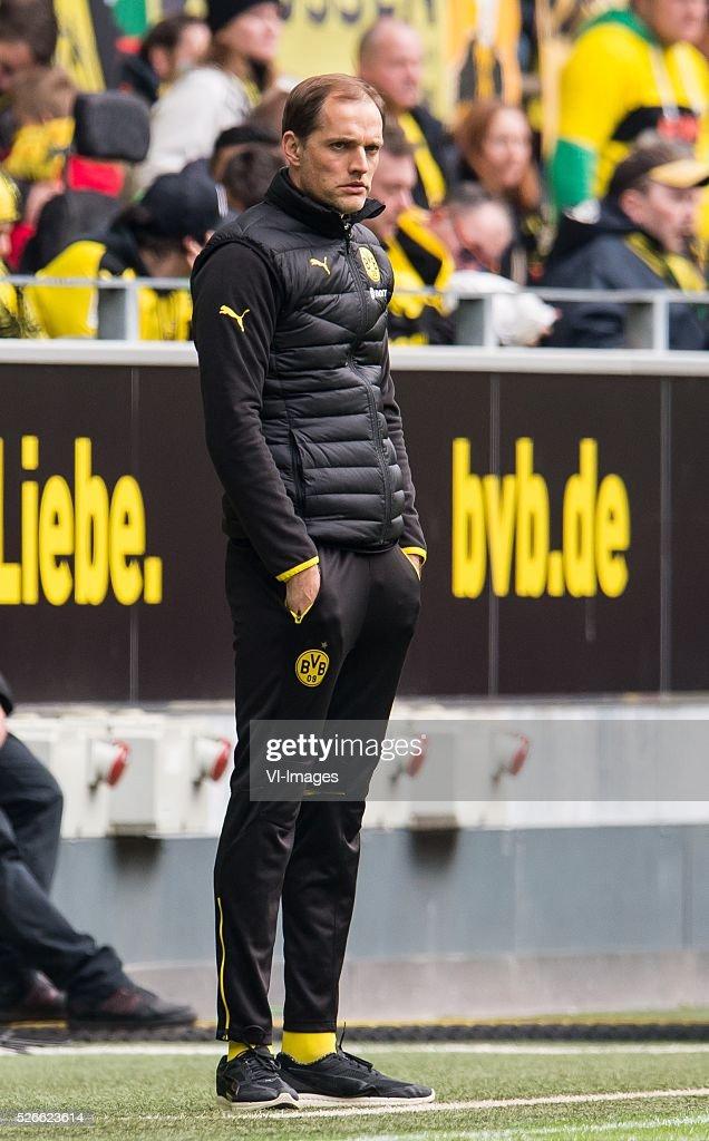 coach Thomas Tuchel of Borussia Dortmund during the Bundesliga match between Borussia Dortmund and VfL Wolfsburg on April 30, 2016 at the Signal Idun Park stadium in Dortmund, Germany.