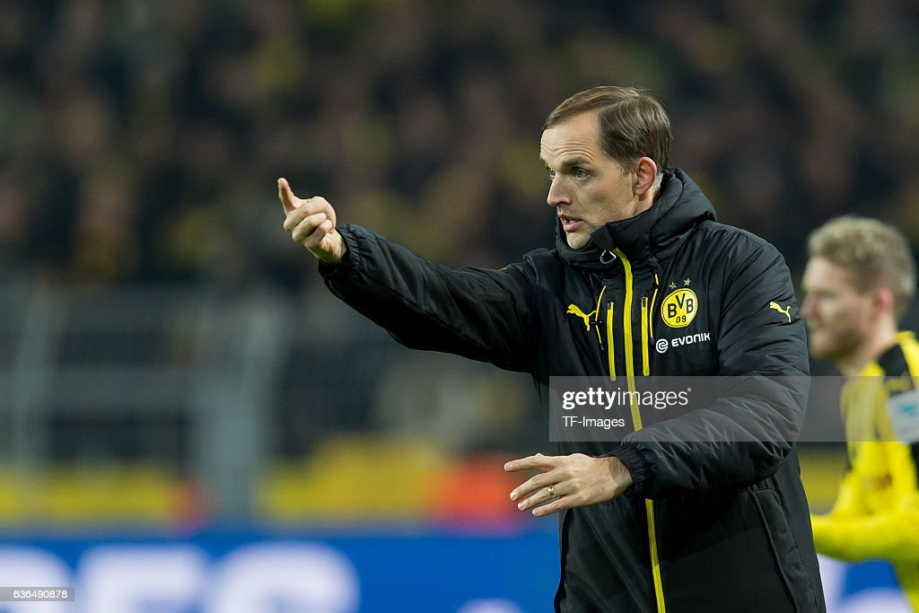 Coach Thomas Tuchel of Dortmund gestures during the Bundesliga match between Borussia Dortmund and FC Augsburg at Signal Iduna Park on December 20, 2016 in Dortmund, Germany.