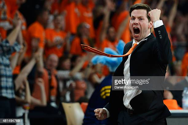 Coach Thorsten Leibenath of Ulm reacts during the Beko BBL Top Four final match between Alba Berlin and ratiopharm Ulm at ratiopharm arena on March...