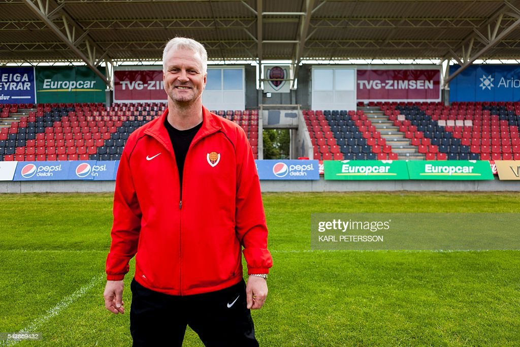 Coach Thrantur Sigurdursson, who trained Iceland's striker Kolbeinn Sigthorsson, is pictured at the football club Viking on June 30, 2016 in Reykjavik. / AFP / Karl Petersson