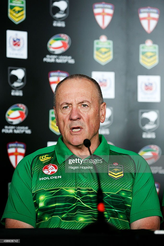 Coach Tim Sheens of the Kangaroos talks to the media during a joint New Zealand Kiwis and Australian Kangaroos Four Nations Final joint press conference at Westpac Stadium on November 14, 2014 in Wellington, New Zealand.