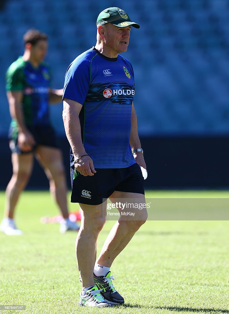 Coach <a gi-track='captionPersonalityLinkClicked' href=/galleries/search?phrase=Tim+Sheens&family=editorial&specificpeople=608579 ng-click='$event.stopPropagation()'>Tim Sheens</a> watches his team during an Australian Kangaroos Captain's Run at Allianz Stadium on May 1, 2014 in Sydney, Australia.