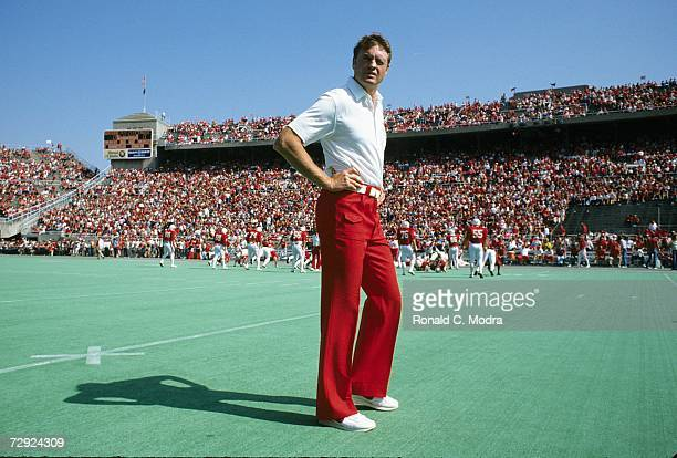 Coach Tom Osborne of the University of Nebraska Cornhuskers during a game against the Syracuse University Orangemen on October 1 l983 in Lincoln...