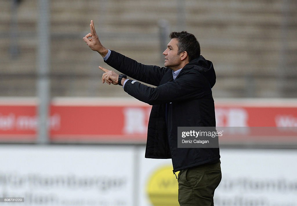 coach Tomislav Stipic of Stuttgart reacts during the 3. Liga match between SV Stuttgarter Kickers and FC Hansa Rostock at GAZI-Stadion on February 6, 2016 in Stuttgart, Germany.