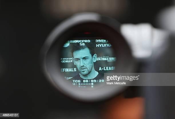 Coach Tony Popovic speaks to the media during a Western Sydney Wanderers ALeague training session at Pirtek Stadium on April 25 2014 in Sydney...