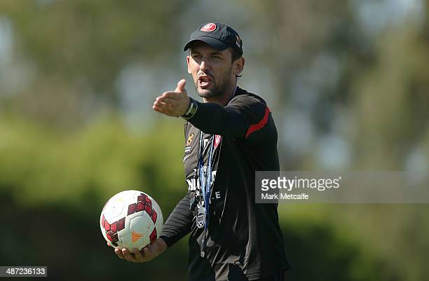 Coach Tony Popovic talks to players during a Western Sydney Wanderers ALeague training session at Blacktown International Sportspark on April 29 2014...