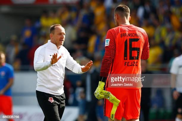 Coach Torsten Lieberknecht and Jasmin Fejzic of Braunschweig after the Second Bundesliga match between Eintracht Braunschweig and Karlsruher SC at...