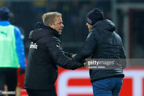 Coach Torsten Lieberknecht of Braunschweig and Coach Markus Anfang of Kiel after the Second Bundesliga match between Eintracht Braunschweig and...