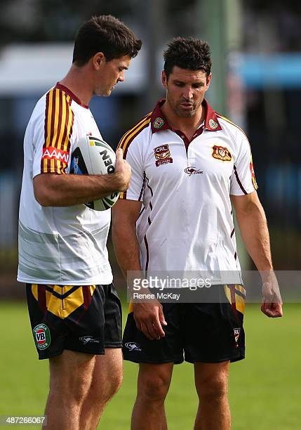 Coach Trent Barrett talks with Cameron Ciraldo during a Country Origin training session at Kippax Lake on April 29 2014 in Sydney Australia