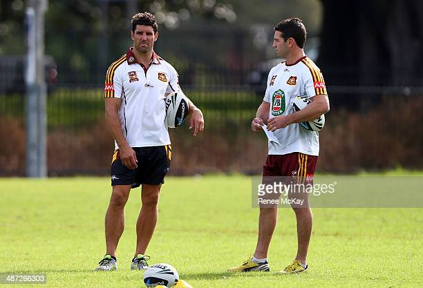 Coach Trent Barrett talks with Danny Buderus during a Country Origin training session at Kippax Lake on April 29 2014 in Sydney Australia