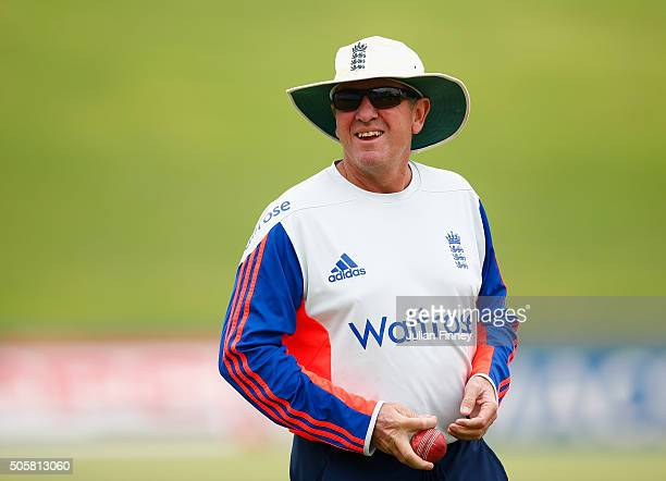 Coach Trevor Bayliss of England looks on during England media acces at SuperSport Park on January 20 2016 in Centurion South Africa