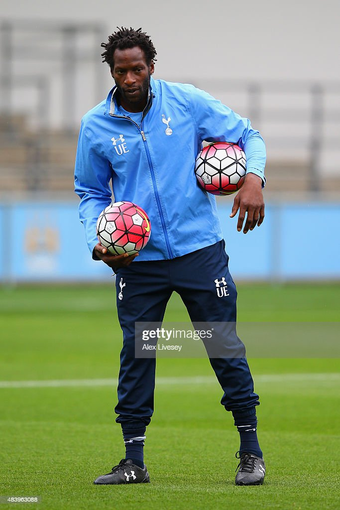 Coach Ugo Ehiogu of Tottenham Hotspur looks on prior to Barclays U21 Premier League match between Manchester City U21 and Tottenham Hotspur U21 at The Academy Stadium on August 14, 2015 in Manchester, England.
