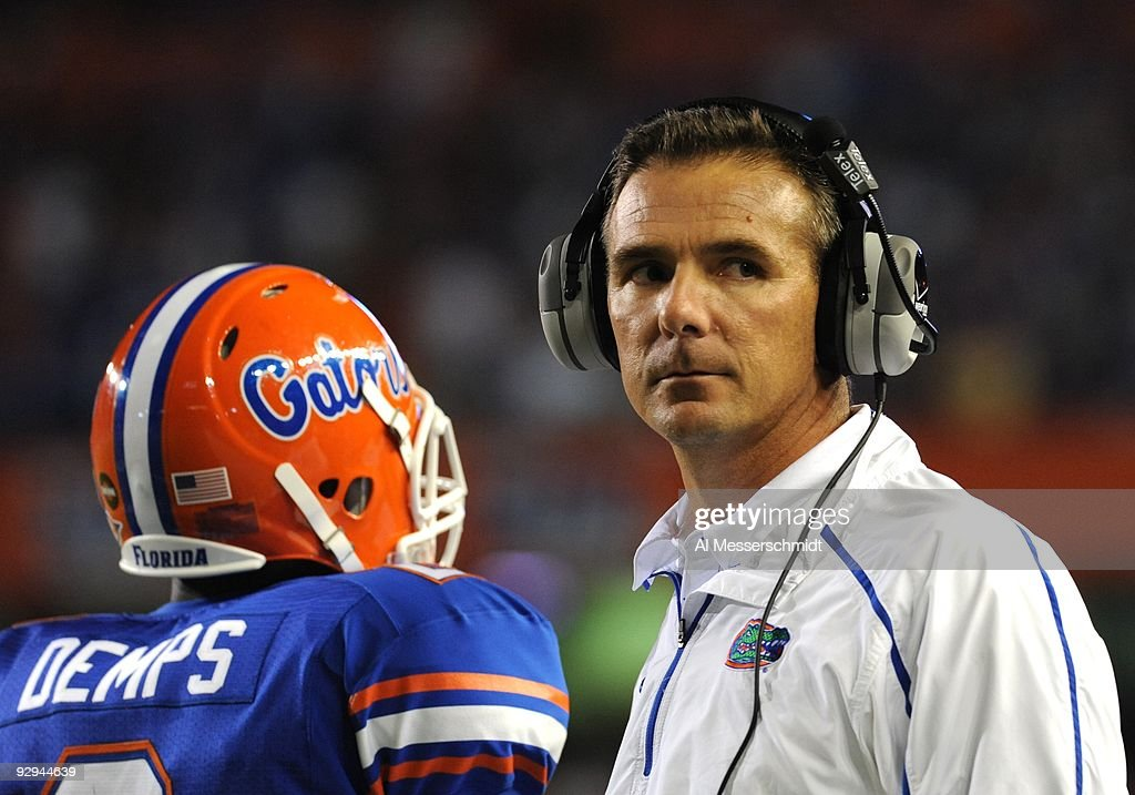 Coach Urban Meyer of the Florida Gators watches play against the Vanderbilt Commodores on November 7 2009 at Ben Hill Griffin Stadium in Gainesville...