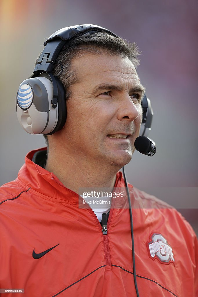 Coach <a gi-track='captionPersonalityLinkClicked' href=/galleries/search?phrase=Urban+Meyer&family=editorial&specificpeople=2108753 ng-click='$event.stopPropagation()'>Urban Meyer</a> of the Ohio State Buckeyes reacts during the game against the Wisconsin Badgers at Camp Randall Stadium on November 17, 2012 in Madison, Wisconsin.
