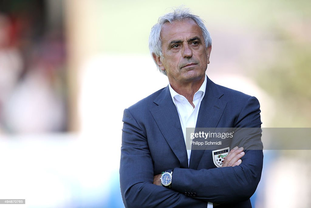 Coach <a gi-track='captionPersonalityLinkClicked' href=/galleries/search?phrase=Vahid+Halilhodzic&family=editorial&specificpeople=777212 ng-click='$event.stopPropagation()'>Vahid Halilhodzic</a> of Algeria reacts during the international friendly match between Algeria and Armenia at Estadio Tourbillon on May 31, 2014 in Sion, Switzerland.
