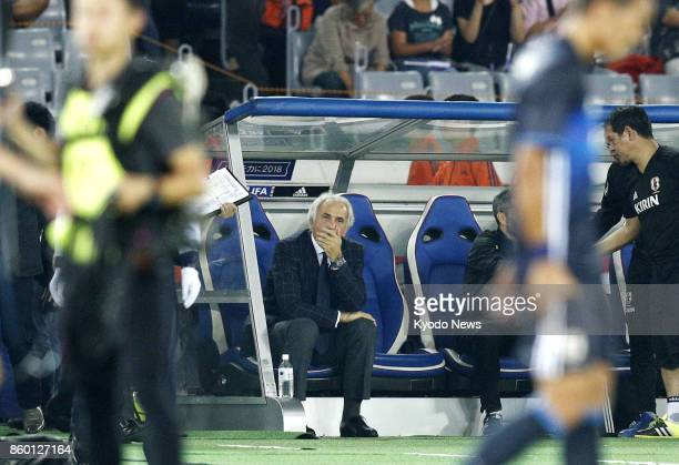 Coach Vahid Halilhodzic reflects after the Japan national team draws 33 with Haiti in a friendly match at Nissan Stadium in Yokohama on Oct 10 2017...