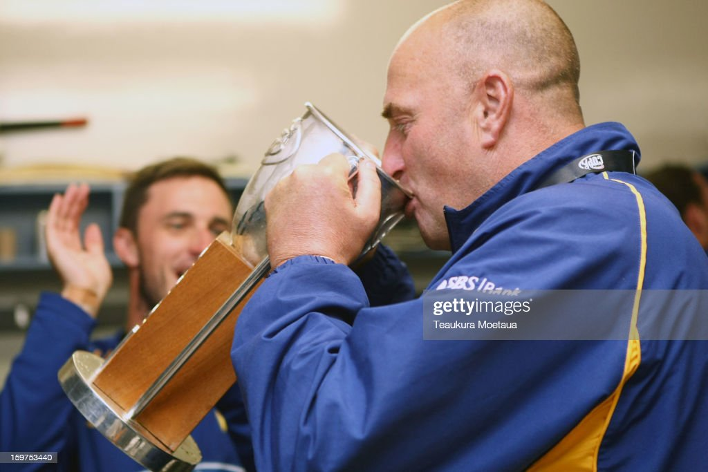 Coach Vaughn Johnson of Otago celebrates after winning the HRV T20 Final match between the Otago Volts and the Wellington Firebirds at University Oval on January 20, 2013 in Dunedin, New Zealand.