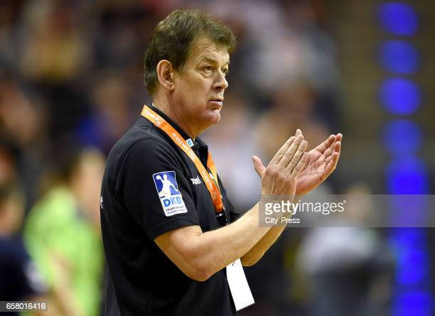 Coach Velimir Petkovic of Fuechse Berlin claps during the game between Fuechse Berlin and Rokometno Drustvo Ribnica on march 26 2017 in Berlin Germany