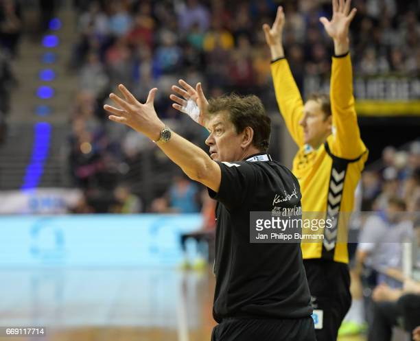 coach Velimir Petkovic of Fuechse Berlin reacts during the game between Fuechse Berlin against SG FlensburgHandewitt on february 1 2017 in Berlin...