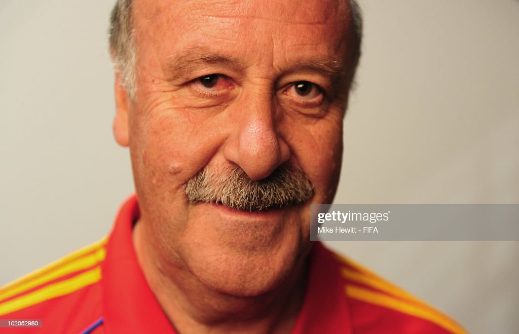 Coach Vicente Del Bosque of Spain poses during the official Fifa World Cup 2010 portrait session on June 13, 2010 in Potchefstroom, South Africa.