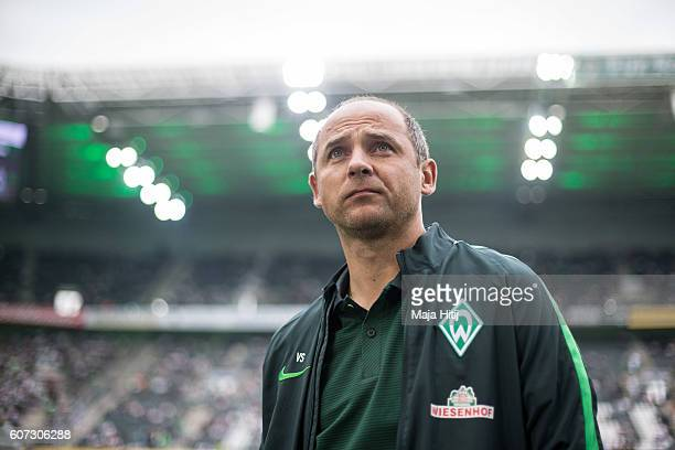 Coach Viktor Skripnik of Bremen looks on prior the Bundesliga match between Borussia Moenchengladbach and Werder Bremen at BorussiaPark on September...
