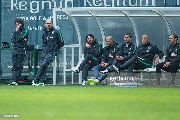 Coach Viktor Skripnik of Werder Bremen and Torsten Frings of Werder Bremen looks on during the Friendly Match between SV Werder Bremen and FC...