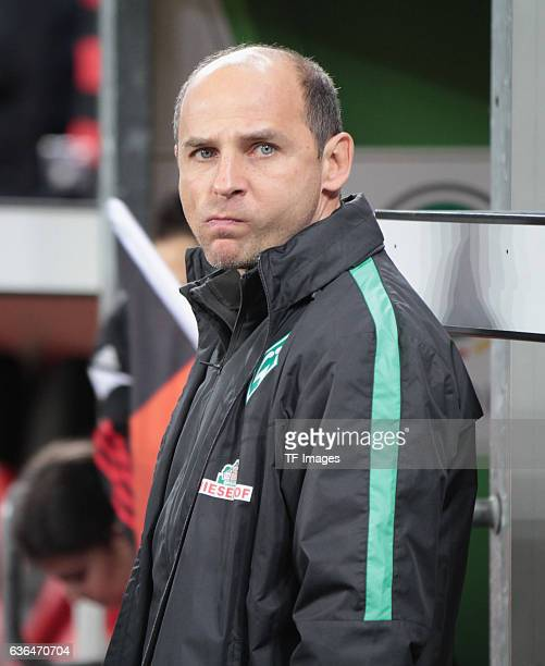 Coach Viktor Skripnik of Werder Bremen looks on during the DFB Pokal soccer match between Bayer 04 Leverkusen and Werder Bremen at BayArena on...
