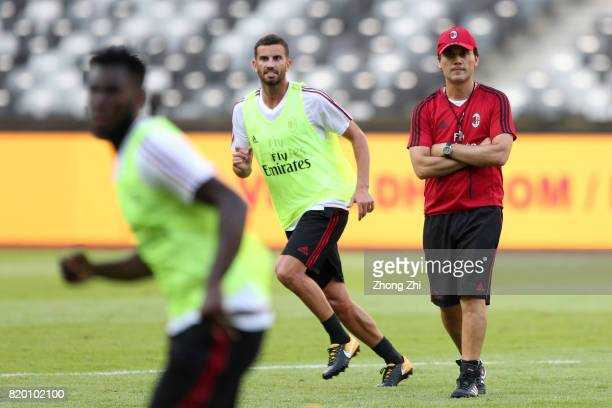 Coach Vincenzo Montella of AC Milan during the training session ahead of the 2017 International Champions Cup football match between AC Milan and FC...