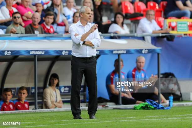 Coach Vitezslav Lavicka of Czech Republic looks on during the UEFA European Under21 Championship Group C match between Germany and Czech Republic at...