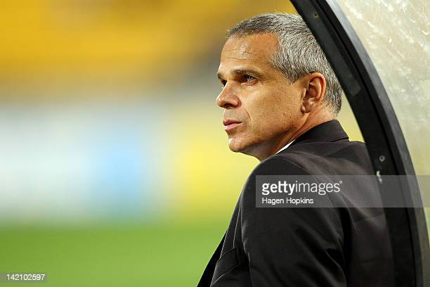 Coach Vitezslav Lavicka of Sydney FC looks on during the ALeague Elimination Final match between the Wellington Phoenix and Sydney FC at Westpac...