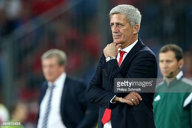Coach Vladimir Petkovic of Switzerland looks on during the EURO 2016 Qualifier match between Switzerland and England on September 8 2014 in Basel...