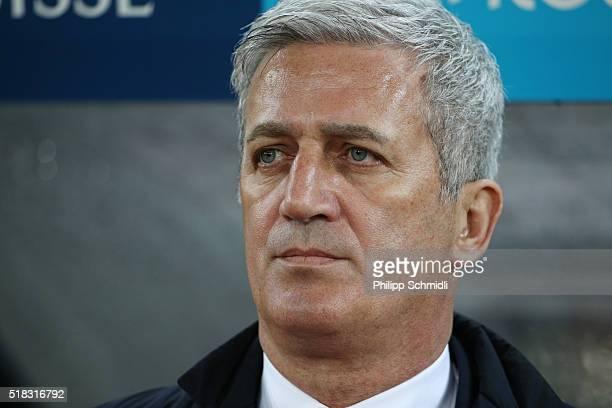 Coach Vladimir Petkovic of Switzerland looks on prior to the international friendly match between Switzerland and BosniaHerzegovina at Stadium...
