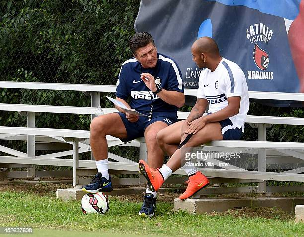 Coach Walter Mazzarri and Jonathan during FC Internazionale training session at Catholic University of America on July 24 2014 in Washington United...