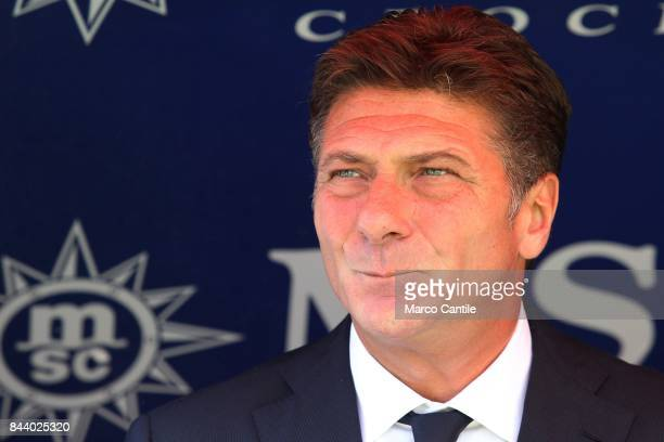 Coach Walter Mazzarri during a soccer match at the San Paolo stadium between Napoli and Parma