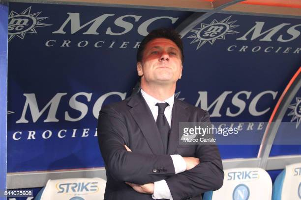 Coach Walter Mazzarri during a soccer match at the San Paolo stadium between Napoli and Inter