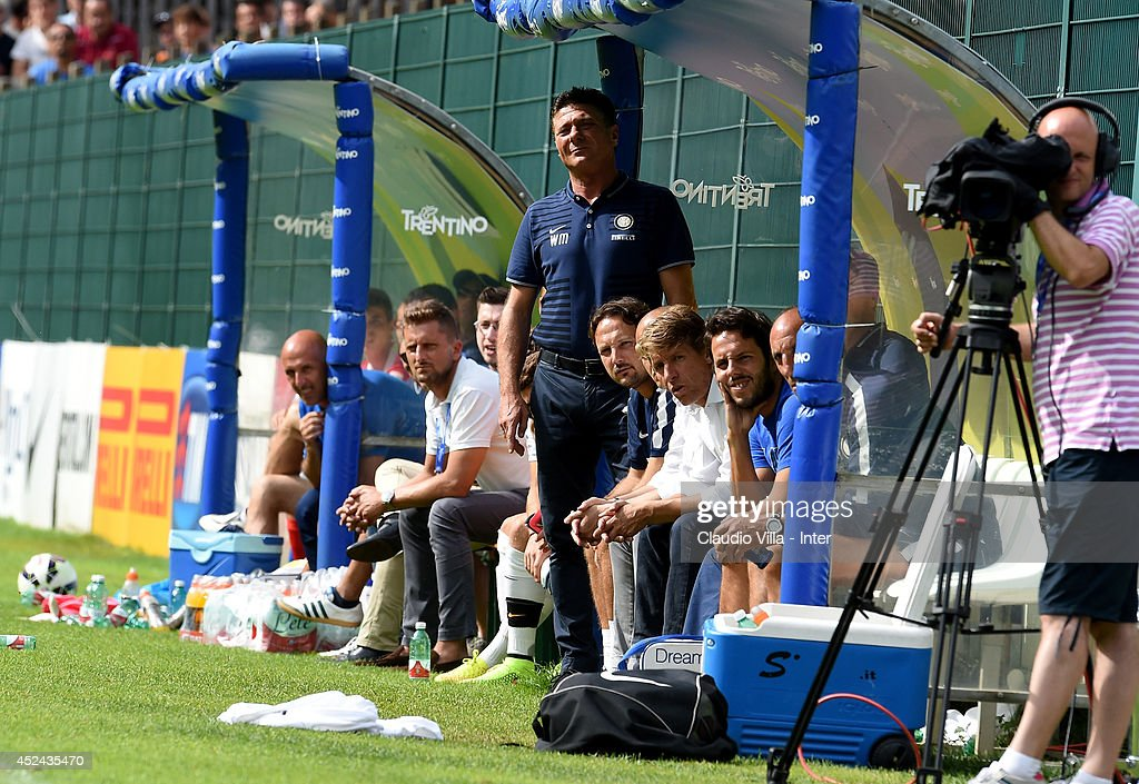 Coach <a gi-track='captionPersonalityLinkClicked' href=/galleries/search?phrase=Walter+Mazzarri&family=editorial&specificpeople=5314636 ng-click='$event.stopPropagation()'>Walter Mazzarri</a> during the pre-season friendly match between FC Internazionale and AC Prato on July 20, 2014 in Pinzolo near Trento, Italy.