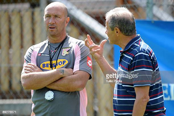 Coach Walter Zenga and Maurizio Zamparini president of Palermo during a training session at Sportarena on July 24 2009 in Bad Kleinkirchheim near...