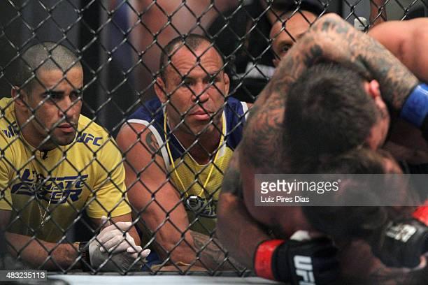 Coach Wanderlei Silva and muay thai coach Michael Costa watch Team Wanderlei fighter Ricardo Abreu face Team Sonnen fighter Guilherme de Vasconcelos...