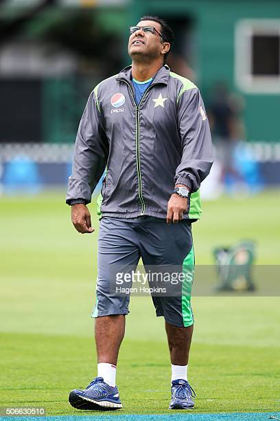Coach Waqar Younis of Pakistan looks on during the One Day International match between New Zealand and Pakistan at Basin Reserve on January 25 2016...