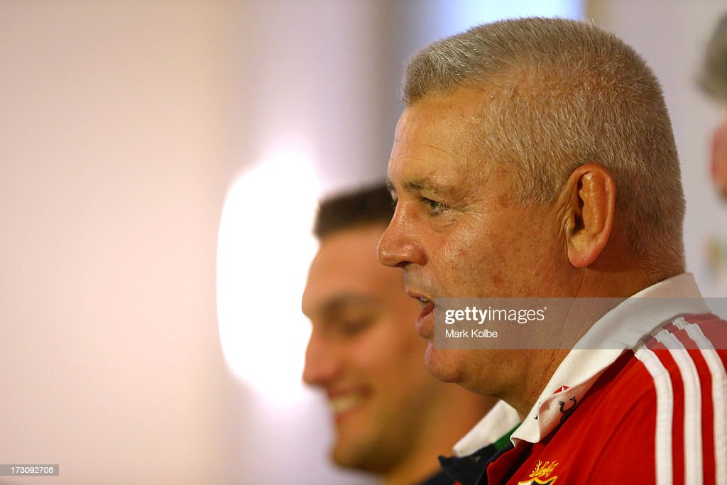 Coach <a gi-track='captionPersonalityLinkClicked' href=/galleries/search?phrase=Warren+Gatland&family=editorial&specificpeople=686626 ng-click='$event.stopPropagation()'>Warren Gatland</a> speaks to the media at a press conference during a British & Irish Lions media session at the Royal Automobile Club on July 7, 2013 in Sydney, Australia.