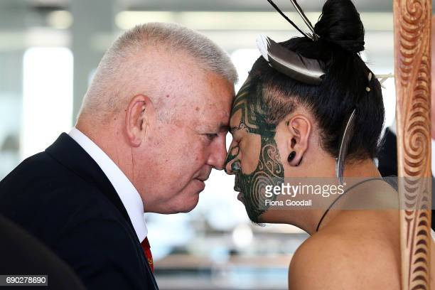 Coach Warrren Gatland of the British Irish Lions recieves a hongi in welcome as the team arrives at Auckland International Airport on May 31 2017 in...