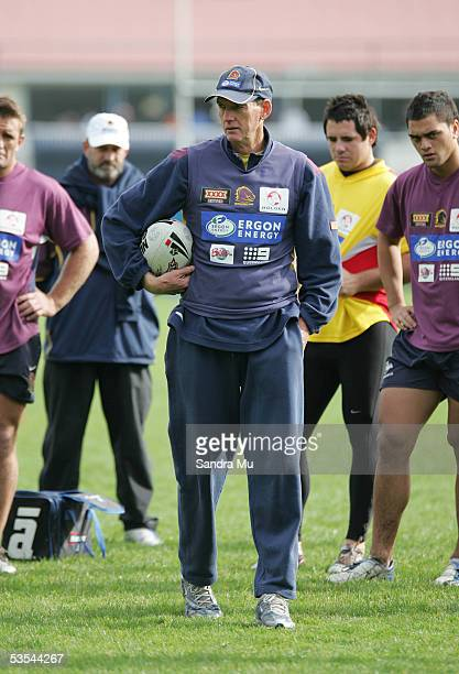 Coach Wayne Bennett during the Brisbane Broncos training session in Auckland New Zealand Saturday June 25 2005 before their round 16 game against the...