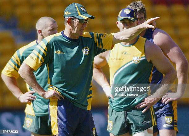 Coach Wayne Bennett instructs his players during the Australian Kangaroos team training session at Suncorp Stadium on April 21 2005 in Brisbane...