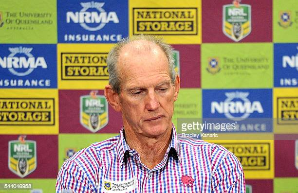 Coach Wayne Bennett of the Broncos looks dejected after the round 17 NRL match between the Brisbane Broncos and the Melbourne Storm at Suncorp...