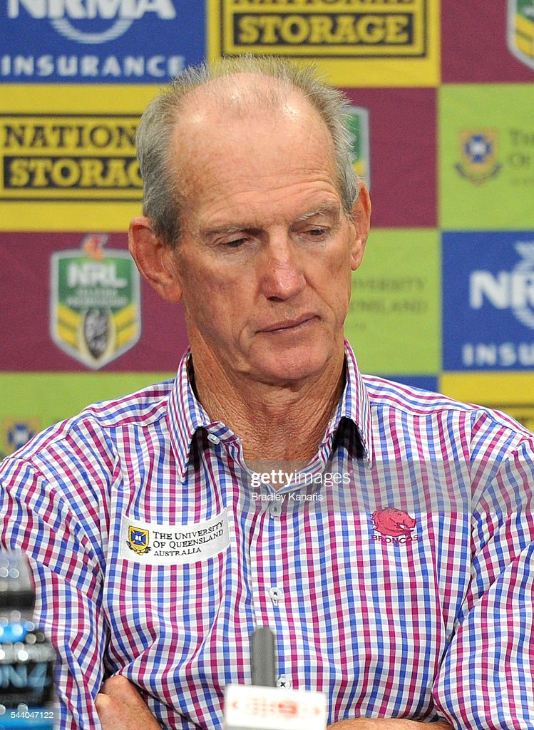 Coach Wayne Bennett of the Broncos looks dejected after the round 17 NRL match between the Brisbane Broncos and the Melbourne Storm at Suncorp Stadium on July 1, 2016 in Brisbane, Australia.
