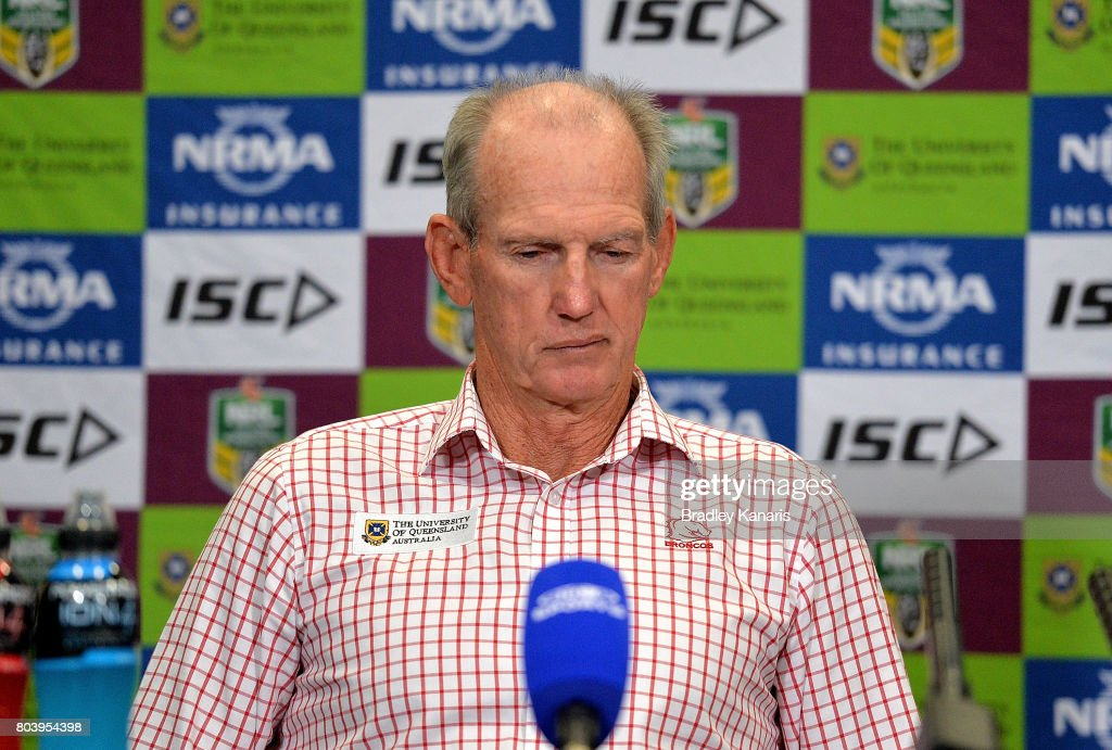 Coach Wayne Bennett of the Broncos looks dejected as he speaks at a press conference after his team loses the round 17 NRL match between the Brisbane Broncos and the Melbourne Storm at Suncorp Stadium on June 30, 2017 in Brisbane, Australia.