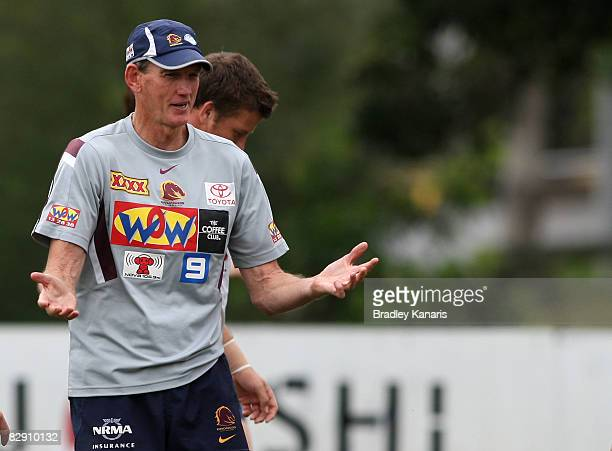 Coach Wayne Bennett speaks to his players during a Brisbane Broncos training session at the Broncos training fields on September 19 2008 in Brisbane...