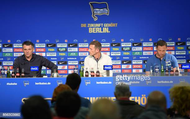 coach Willy Sagnol of FC Bayern Muenchen Marcus 'Max' Jung and coach Pal Dardai of Hertha BSC during the press conference after the game between...