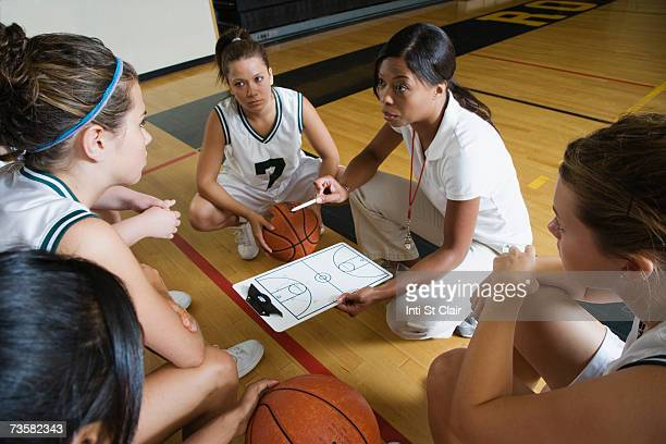 Coach with female basketball team